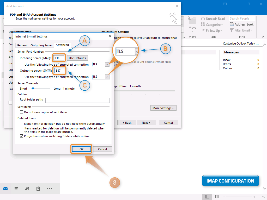 Configuring an email account in Outlook - Help - Netz0