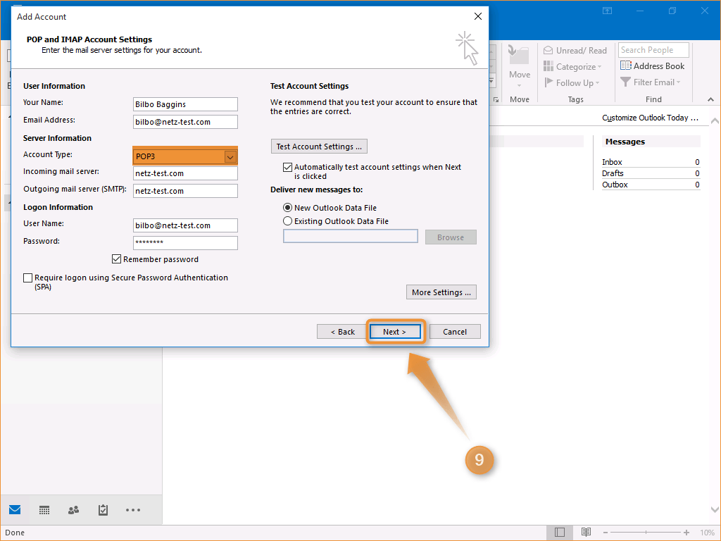 how to delete a email account from outlook