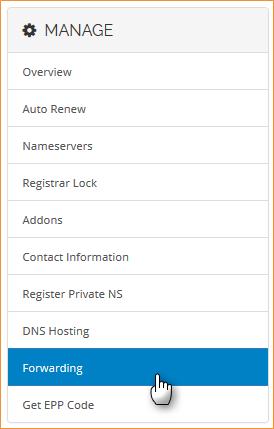 Menu Domain Forwarding